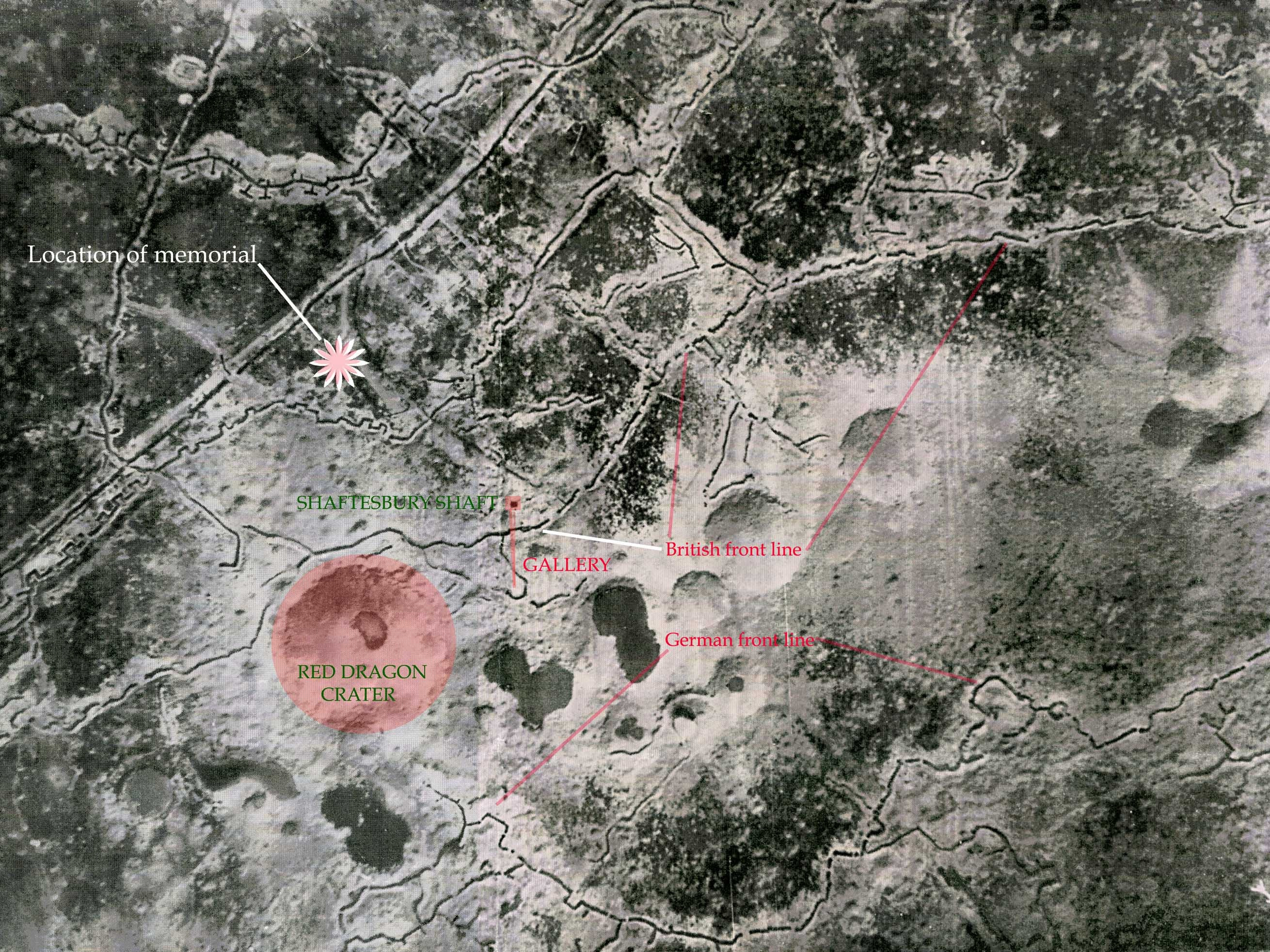 Contemporary aerial photograph showing locations of shaft, gallery and craters