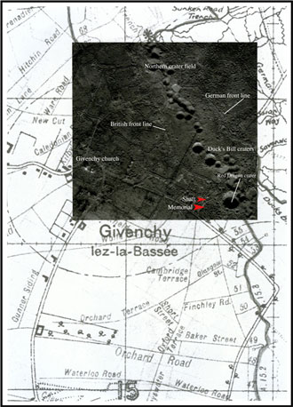 Overlay of a contemporary aerial photograph and trench map