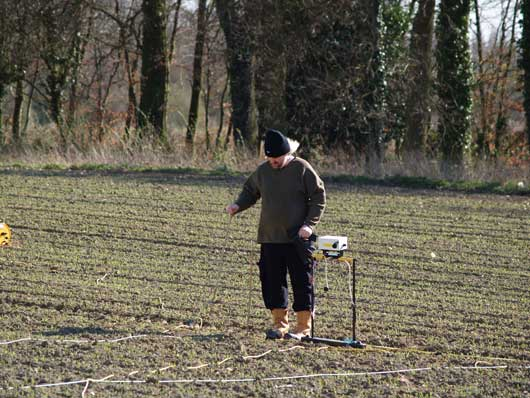 Dr. Iain Banks, Director of the Glasgow University Archaeological Research Division (GUARD) during the resistivity survey