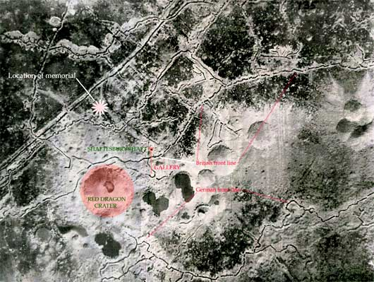 Aerial view of the Givenchy sector showing the crater field and Shaftesbury mine.