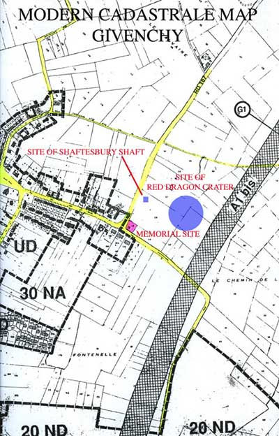 Modern map showing location of Memorial