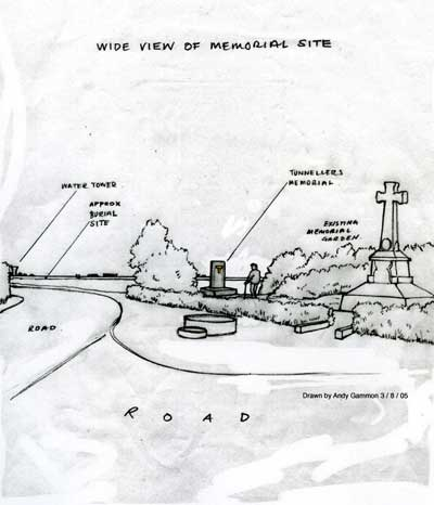 Artist's impression of the site showing the memorial situated next to the 55th (West Lancashire) Division Memorial. Drawn in 2005 by Andy Gammon.